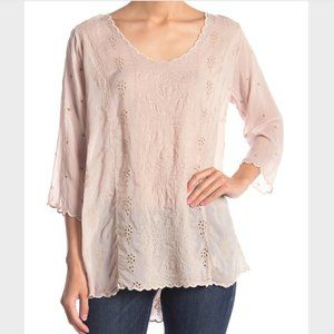Johnny Was Ridden Embroidered Scallop Trim Blouse